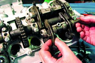 Adjusting the valve clearances on a motorcycle engine