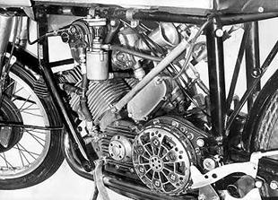 Close up of the later type AJS Porcupine engine taken from 1952
