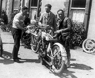 Bianchi's motorcycle race tream pictured in 1926