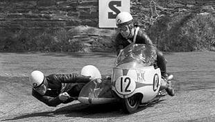 German sidecar champs Max Deubel and Emil Horner on a racing 500cc BMW outfit