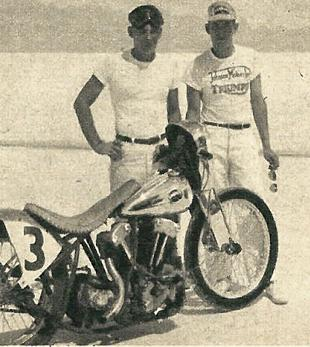 Bob Kelton and Bus Hood with their 1300cc Harley-Davidson at Bonneville Salt Flats