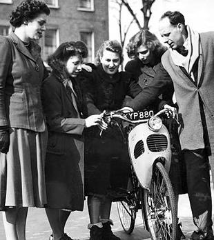 London 1950 and a Cymota is scrutinised by a group of potential customers