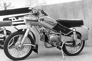 Derny Taon T4 classic motorcycle pictured on display at the Paris motorcycle show in 1956