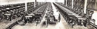 Douglas factory in 1916. Models lined up awaiting despatch