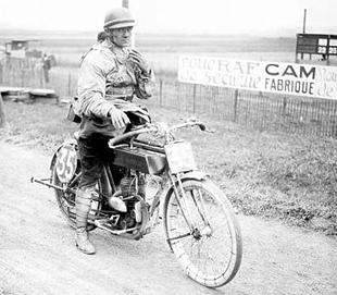 Enrico Visioli, winner of the 1922 Strasbourg GP, astride his 350cc Garelli motorcycle