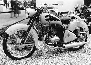 Stylish Gnome et Rhone classic French motorcycle displayed at Paris show in 1957