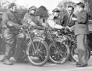 James 98cc classic motorcycle and trip participants return from their England tour