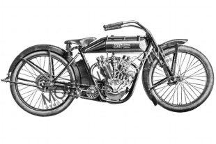 1914 Jefferson 8hp v-twin classic motorcycle featuring unusual leading link leaf spring forks