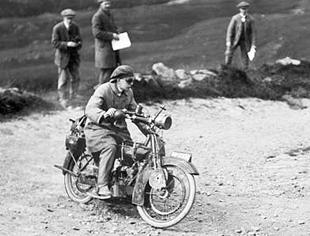 MR MW Downe in action on his classic Lea-Francis motorcycle v-twin, just after First World War