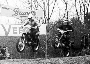 Fritz Betzlbacher on his way to fourth place on his Maico in the 1960 Swiss motocross GP