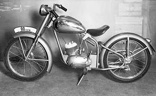 Czechoslovakian firm Manet's 89cc classic motorcycle from the early Fifties