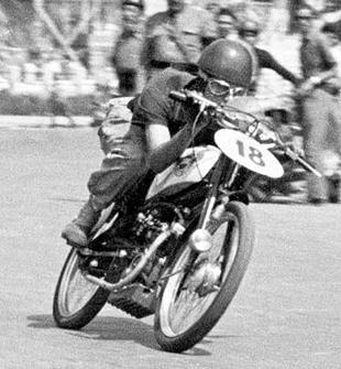 Racing Motom motorcycle in action in the mid Fifties. Motom was the fifth largest Italian volume producer