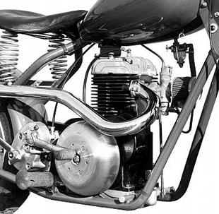 Mustang motorcycle engine redesign saw both exhauist and carburettor situated at front of the engine