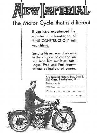 New Imperial classic motorcycle advertisement