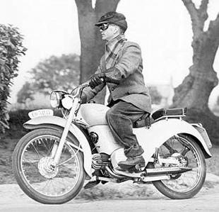 Vic Willoughby tests a Moto Guzzi lightwight motorcycle in 1954