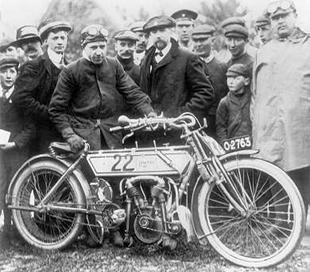 Rem Fowler, winner of the twin cylinder class at the inaugral 1907 TT with his Peugeot-powered machine