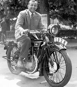 HP 'Happy' Muller poses on his 1928 NSU classic motorcycle