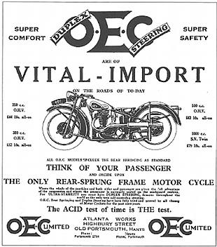 OEC motorcycle advert