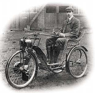 OEC company founder Frederick Osborn poses on one of his self built invalid carriages in 1901