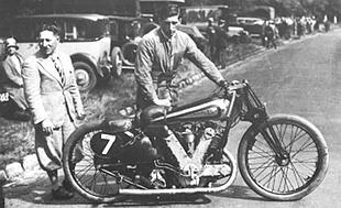 Oliver Baldwin wheels out the big AJS for a crack at the world speed record at Arpajon, France in August 1930ng motorcycle