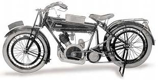 Distinctive Powell motorcycle, with its inclined, outside flywheel Blackburne engine