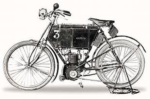 Early single cylinder motorcycle dating from 1902