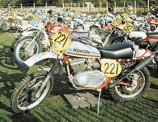 Ron Bishop's 335cc Rokon motorcycle during the 1975 ISDT in the Isle of Man