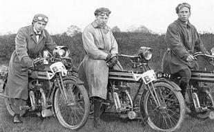 Apruil 1910 and three riders pose with their Rover motorcycles