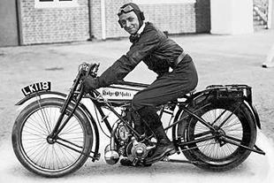 TT winner Cyril Pullin on Rudge motorcycle racer