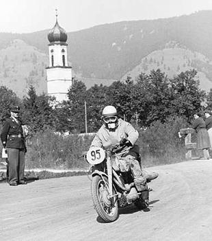 JAM Salas in action on his Sanglas motorcycle, on day three of the 1956 ISDT