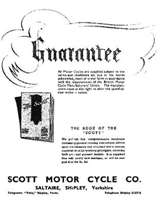Scott motorcycles guarantee