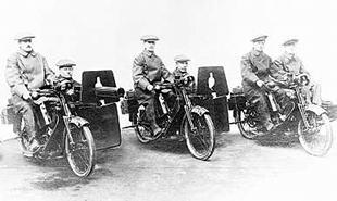 Scott sidecar machine guns driven by Alfred Angas Scott, J Normal Lingfield and Frank Applebee