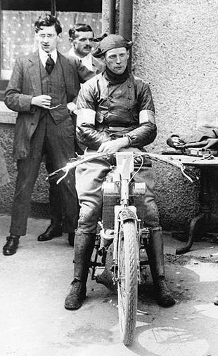 Frank Applebee after winning the 1912 Senior TT on a Scott motorcycle