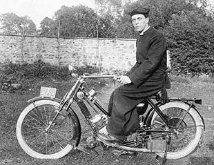 Reverand John Hodgkin poses on his Scott 1910 motorcycle
