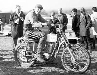 Sprite works rider Dennis ' Jonah' Jones poses on a Maico-engined 360cc Sprite motorcycle in 1967