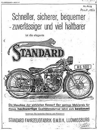 1929 Standard BS500 motorcycle advertisement
