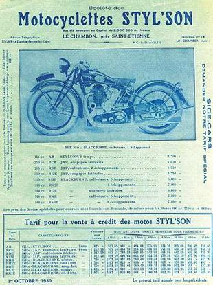 Styl'son motorcycle sales brochure from 1930. Illustrated model has Blackburne engine