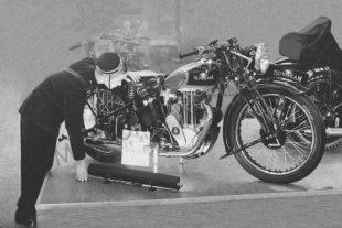 Sunbeam on display stand at Olympia motorcycle show in 1936