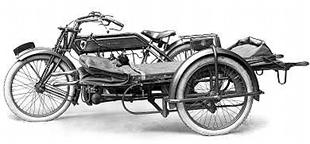 Eight horsepower Sunbeam three-wheeled 'ambulance', used by militaty in WW1