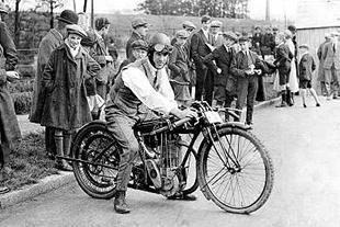 Sunbeam motorcycle hero George Dance, astride his racing machine