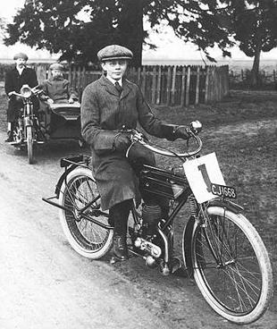 Master Wallis, aged 16, poses on his Sun Villiers motorcycle in 1914