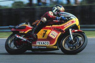 Barry Sheene on Suzuki racer in 1978 British GP