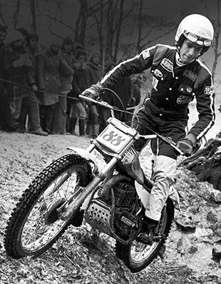 Charles Coutard on SWM motorcycle at world trials, Wales in 1978