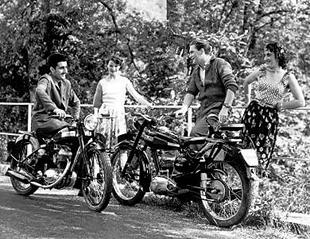 Fifties Terrot motorcycle manufacturer publicity picture, featuring 125cc models