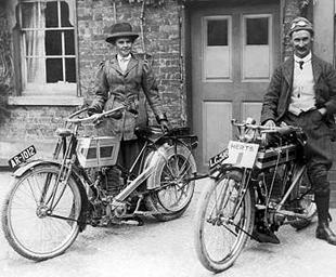 His and hers classic Triumph motorcycles, pre WW1