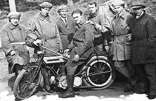 Triumph road test squad from 1916. George Shermans is seated on the bike