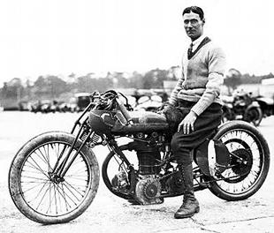 Victor Horsman, Brooklands race track rider, on Triumph motorcycle in 1923