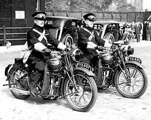 Two Triumph Speed Twin classic motorcycles ridden by Dispatch Rider Force
