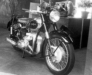Universal flat twin classic motorcycle on display at Brussels show in January 1950