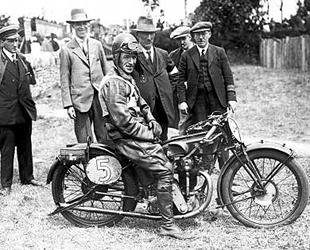 Alec Bennett astride 1926 Velocette, which was the Junior TT